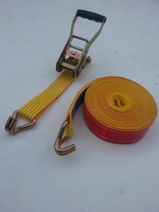 2-delige spanband/50MM/5000KG/10M/reflectie/rood